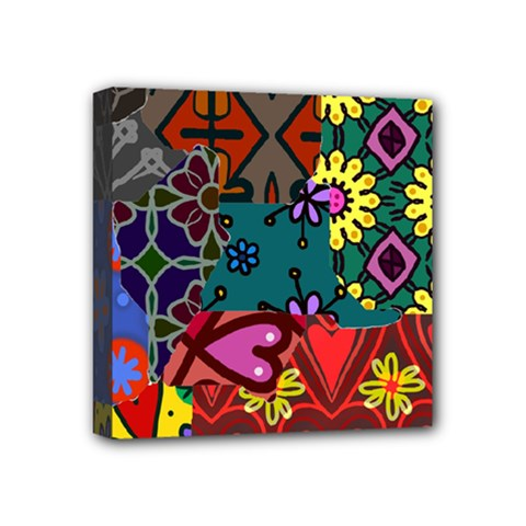 Digitally Created Abstract Patchwork Collage Pattern Mini Canvas 4  X 4  (stretched)