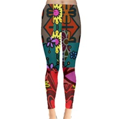 Digitally Created Abstract Patchwork Collage Pattern Leggings