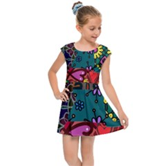 Digitally Created Abstract Patchwork Collage Pattern Kids Cap Sleeve Dress