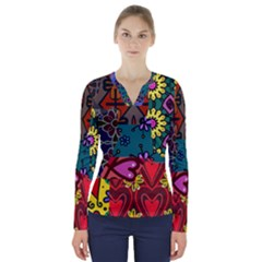 Digitally Created Abstract Patchwork Collage Pattern V Neck Long Sleeve Top