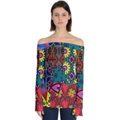 Digitally Created Abstract Patchwork Collage Pattern Off Shoulder Long Sleeve Top by Jojostore
