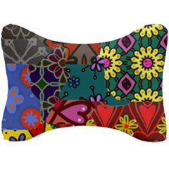 Digitally Created Abstract Patchwork Collage Pattern Seat Head Rest Cushion by Jojostore