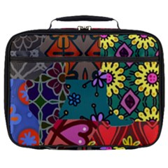 Digitally Created Abstract Patchwork Collage Pattern Full Print Lunch Bag by Jojostore