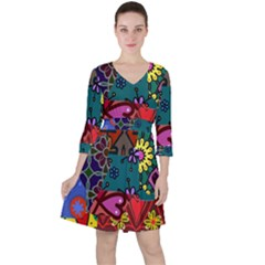 Digitally Created Abstract Patchwork Collage Pattern Ruffle Dress
