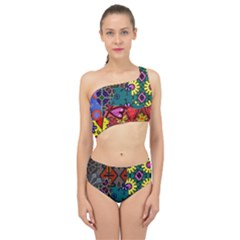 Digitally Created Abstract Patchwork Collage Pattern Spliced Up Two Piece Swimsuit