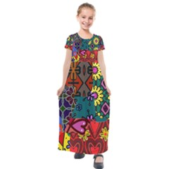 Digitally Created Abstract Patchwork Collage Pattern Kids  Short Sleeve Maxi Dress