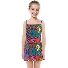 Digitally Created Abstract Patchwork Collage Pattern Kids Summer Sun Dress