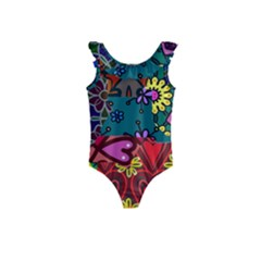 Digitally Created Abstract Patchwork Collage Pattern Kids  Frill Swimsuit