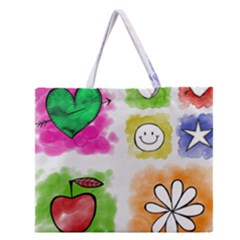 A Set Of Watercolour Icons Zipper Large Tote Bag