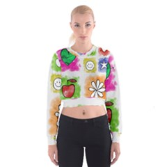 A Set Of Watercolour Icons Cropped Sweatshirt
