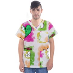 A Set Of Watercolour Icons Men s V Neck Scrub Top