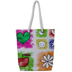 A Set Of Watercolour Icons Full Print Rope Handle Tote (small)