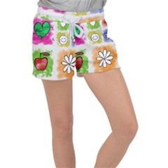 A Set Of Watercolour Icons Women s Velour Lounge Shorts