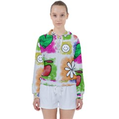 A Set Of Watercolour Icons Women s Tie Up Sweat