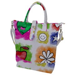 A Set Of Watercolour Icons Buckle Top Tote Bag