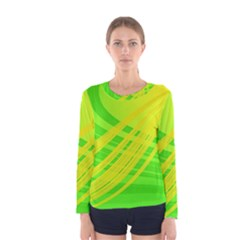 Abstract Green Yellow Background Women s Long Sleeve Tee