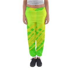 Abstract Green Yellow Background Women s Jogger Sweatpants