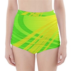 Abstract Green Yellow Background High Waisted Bikini Bottoms
