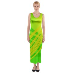 Abstract Green Yellow Background Fitted Maxi Dress