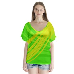 Abstract Green Yellow Background V Neck Flutter Sleeve Top