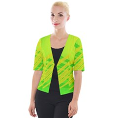 Abstract Green Yellow Background Cropped Button Cardigan