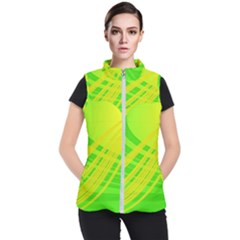 Abstract Green Yellow Background Women s Puffer Vest by Jojostore