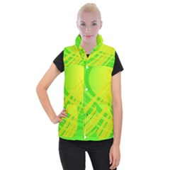 Abstract Green Yellow Background Women s Button Up Vest by Jojostore