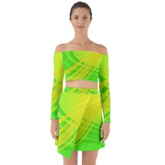 Abstract Green Yellow Background Off Shoulder Top With Skirt Set
