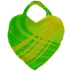 Abstract Green Yellow Background Giant Heart Shaped Tote by Jojostore