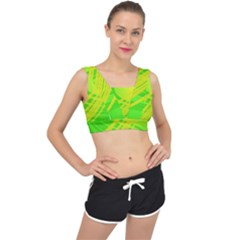Abstract Green Yellow Background V Back Sports Bra