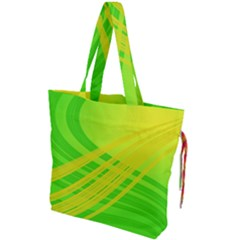 Abstract Green Yellow Background Drawstring Tote Bag