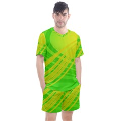 Abstract Green Yellow Background Men s Mesh Tee And Shorts Set by Jojostore
