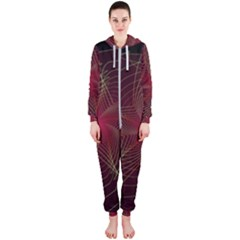 Fractal Red Star Isolated On Black Background Hooded Jumpsuit (ladies)