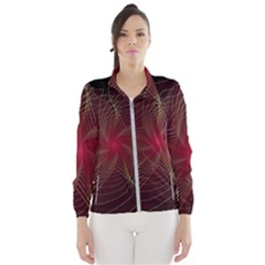 Fractal Red Star Isolated On Black Background Windbreaker (women)