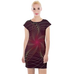 Fractal Red Star Isolated On Black Background Cap Sleeve Bodycon Dress by Jojostore