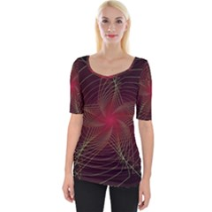 Fractal Red Star Isolated On Black Background Wide Neckline Tee