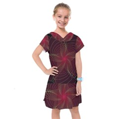 Fractal Red Star Isolated On Black Background Kids  Drop Waist Dress