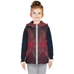 Fractal Red Star Isolated On Black Background Kid s Hooded Puffer Vest