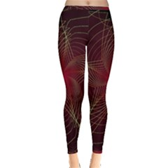 Fractal Red Star Isolated On Black Background Inside Out Leggings