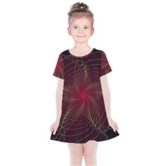 Fractal Red Star Isolated On Black Background Kids  Simple Cotton Dress