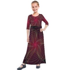 Fractal Red Star Isolated On Black Background Kids  Quarter Sleeve Maxi Dress by Jojostore