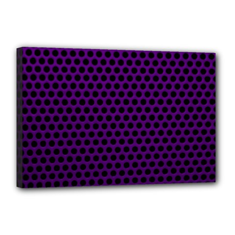 Dark Purple Metal Mesh With Round Holes Texture Canvas 18  X 12  (stretched) by Jojostore