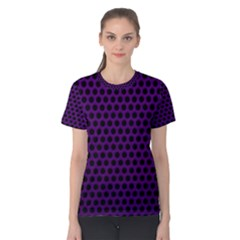Dark Purple Metal Mesh With Round Holes Texture Women s Cotton Tee by Jojostore