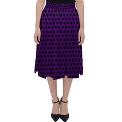 Dark Purple Metal Mesh With Round Holes Texture Classic Midi Skirt