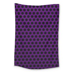 Dark Purple Metal Mesh With Round Holes Texture Large Tapestry