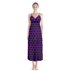 Dark Purple Metal Mesh With Round Holes Texture Button Up Chiffon Maxi Dress