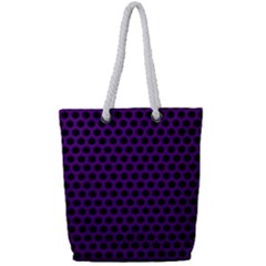 Dark Purple Metal Mesh With Round Holes Texture Full Print Rope Handle Tote (small)