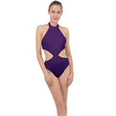 Dark Purple Metal Mesh With Round Holes Texture Halter Side Cut Swimsuit by Jojostore