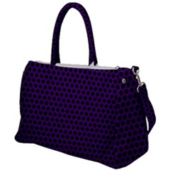 Dark Purple Metal Mesh With Round Holes Texture Duffel Travel Bag by Jojostore