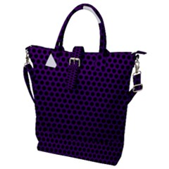 Dark Purple Metal Mesh With Round Holes Texture Buckle Top Tote Bag